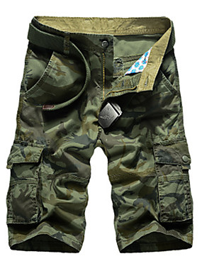 "cheap Sports & Outdoors-Men's Hiking Shorts Hiking Cargo Shorts Camo Summer Outdoor 10"" Relaxed Fit Breathable Comfortable Multi-Pocket Wear Resistance Cotton Shorts Bottoms Camping / Hiking Hunting Fishing Army Green Khaki"