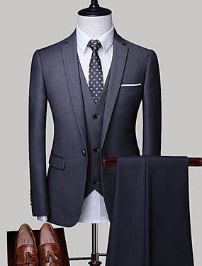 cheap Blazers & Suits-Men's Plus Size Suits, Solid Colored Shirt Collar Polyester Light gray / Royal Blue / Lavender, Tie's Color Delivery On Random