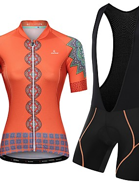 cheap Sports & Outdoors-Malciklo Women's Short Sleeve Cycling Jersey with Bib Shorts Pink Orange+White Orange / Black Floral Botanical Bike Clothing Suit Breathable Quick Dry Reflective Strips Sweat-wicking Sports Floral