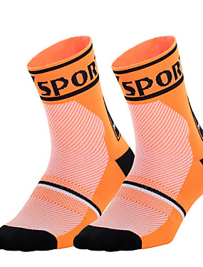 cheap Sports & Outdoors-Men's Women's Running Socks Athletic Sports Socks Cycling Socks Compression Socks Breathable Comfortable Black White Fuchsia Winter Road Bike Mountain Bike MTB Running Stretchy