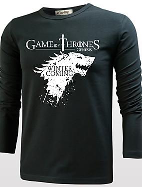 preiswerte Unter €9.9-Game of Thrones Cosplay Cosplay Kostüme T-Shirt-Ärmel Herrn Damen Film Cosplay Cosplay Halloween Schwarz / Grau & Schwarz / Weiß T-shirt Halloween Baumwolle