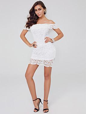 preiswerte Biszu19-Eng anliegend Schulterfrei Kurz / Mini Spitze Cocktailparty Kleid mit Rüschen durch TS Couture®