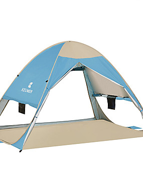 cheap Sports & Outdoors-KEUMER 3 person Beach Tent Outdoor Windproof Rain Waterproof Wearable Single Layered Automatic Camping Tent 1000-1500 mm for Camping / Hiking / Caving Picnic Oxford Cloth Steel Stainless 200*150*130