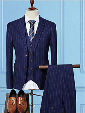 cheap The Wedding Store-Black / Navy Blue / Gray Striped Tailored Fit Cotton Suit - Notch Single Breasted Two-buttons