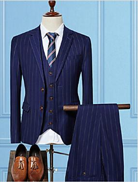 voordelige De Bruiloftswinkel-Zwart / Bordeaux / Marineblauw Gestreept Getailleerd Katoen Pak - Inkeping Single Breasted Twee-Knoops / Suits