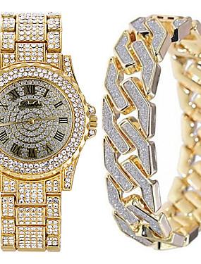 preiswerte Herrenuhren-Herrn Uhr Stahl Uhren Japanisch Quartz Geschenkset Edelstahl Silber / Gold / Rotgold nein Chronograph Niedlich Armbanduhren für den Alltag Analog Luxus Neuankömmling Gold Silber Rotgold / Zwei jahr