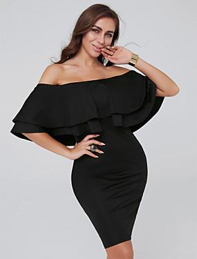 preiswerte Biszu19-Eng anliegend Schulterfrei Kurz / Mini Jersey Cocktailparty Kleid mit Kaskaden Rüschen durch TS Couture®