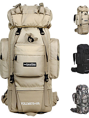 cheap Sports & Outdoors-85 L Hiking Backpack Rucksack Military Tactical Backpack Breathable Straps - Rain Waterproof 3D Pad Anatomic Design Wear Resistance Outdoor Hiking Camping Military / Tactical Oxford Black Camouflage
