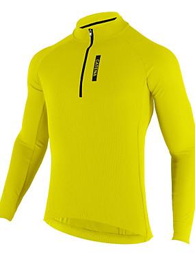 cheap Sports & Outdoors-Mysenlan Men's Long Sleeve Cycling Jersey Winter Fleece Yellow Dark Blue Bike Jersey Breathable Sports Clothing Apparel