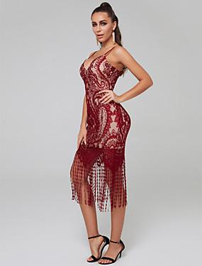 preiswerte Biszu19-Eng anliegend Spaghetti-Träger Knie-Länge Spitze Cocktailparty Kleid mit Spitzeneinsatz durch TS Couture®