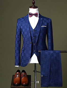 cheap Weddings & Events-Burgundy / Black / Royal Blue Checkered Tailored Fit Polyester Suit - Notch Single Breasted One-button