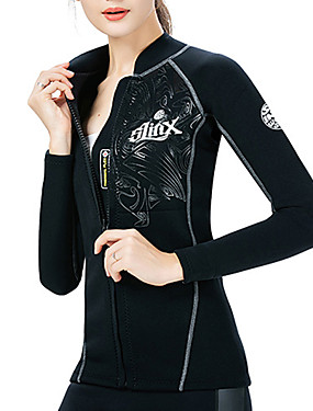 cheap Sports & Outdoors-SLINX Women's Wetsuit Top Wetsuit Jacket 2mm SCR Neoprene Top Thermal / Warm Waterproof UV Sun Protection Long Sleeve Front Zip - Diving Surfing Water Sports Solid Colored Autumn / Fall Spring Summer