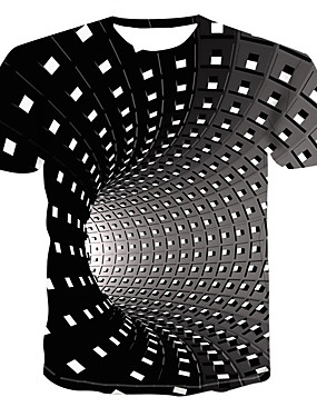 preiswerte BigSave-Herrn Geometrisch / 3D - Street Schick / Punk & Gothic Übergrössen T-shirt, Rundhalsausschnitt Druck Schwarz / Kurzarm