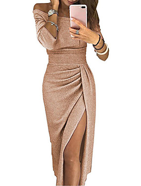 cheap Women's Clothing-Women's Asymmetrical Bodycon Dress - Long Sleeve Solid Color Pleated Patchwork Asymmetric Spring & Summer Off Shoulder Sexy Cocktail Party New Year Going out Off Shoulder Black Red Blushing Pink Gold