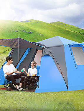 cheap Sports & Outdoors-Shamocamel® 4 person Cabin Tent Automatic Tent Family Tent Outdoor Windproof Sunscreen Breathable Double Layered Automatic Instant Cabin Camping Tent 2000-3000 mm for Fishing Hiking Beach Polyester
