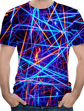 preiswerte Men's Clothing-Herrn 3D Übergrössen Baumwolle T-shirt, Rundhalsausschnitt Druck Königsblau / Kurzarm