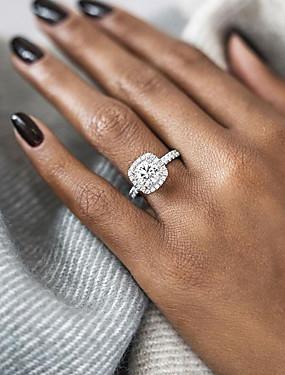 billige Smykker Avtale-Dame Forlovelsesring Belle Ring Diamant Kubisk Zirkonium 1pc Rose Gull Gull Sølv Sølvplett Gullbelagt damer Brude blinging Bryllup Fest Smykker Solitaire Rund HALO Kjærlighed