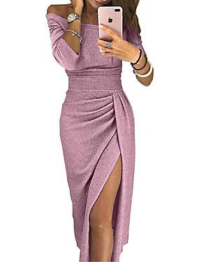 levne Party noc-Dámské Sofistikované Pouzdro Šaty - Květinový Jednobarevné, Patchwork Nad kolena Pod rameny