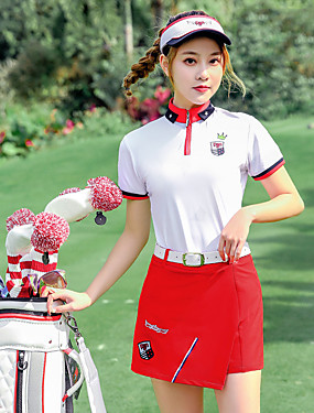 cheap Sports & Outdoors-PGM Women's Golf Shorts Tee / T-shirt Clothing Suit Patchwork Color Block Breathable Quick Dry Moisture Wicking Autumn / Fall Spring Summer Athleisure Outdoor / Cotton / Micro-elastic