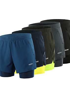 cheap Sports & Outdoors-Arsuxeo Men's Running Shorts Athletic Shorts Bottoms 2 in 1 Liner Split Spandex Sport Gym Workout Running Active Training Breathable Quick Dry Reflective Strips Blue+Yellow Black Army Green Dark Gray