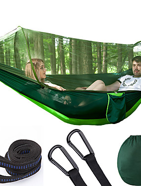 cheap Sports & Outdoors-Camping Hammock with Pop Up Mosquito Net Double Hammock Outdoor Breathable Anti-Mosquito Ultra Light (UL) Foldable Mesh Parachute Nylon with Carabiners and Tree Straps for 2 person Camping / Hiking