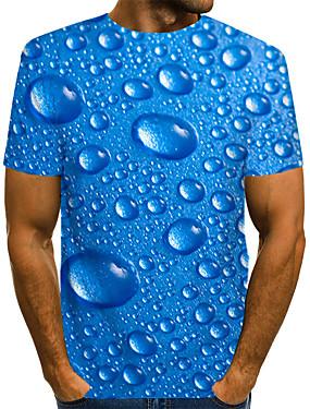 preiswerte Men's Clothing-Herrn Solide / Punkt / 3D - Street Schick / Übertrieben Klub EU- / US-Größe T-shirt, Rundhalsausschnitt Druck Blau / Kurzarm