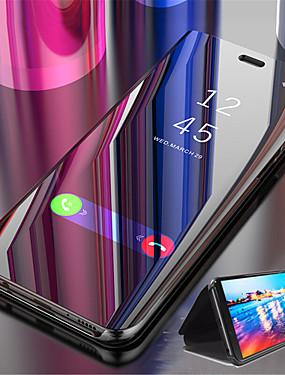 رخيصةأون جراب هاتف فيفو-غطاء من أجل Vivo vivo Y69 / vivo X20 Plus / vivo X20 مع حامل / تصفيح / مرآة غطاء كامل للجسم لون سادة قاسي جلد PU