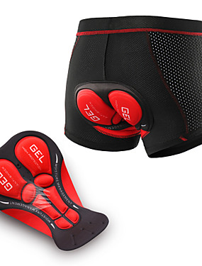 cheap Sports & Outdoors-Arsuxeo Men's Cycling Under Shorts Elastane Bike Underwear Shorts Padded Shorts / Chamois Bottoms 3D Pad Moisture Wicking Breathable Sports Black / Red / Black / Black / Blue Mountain Bike MTB Road