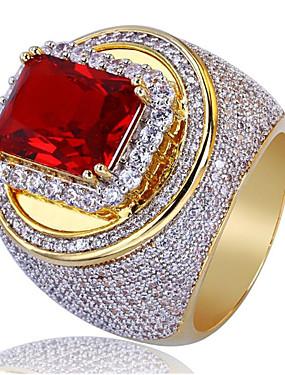 povoljno Muški nakit-Muškarci Prsten Sintetička Rubina 1pc Zlato Kamen Geometric Shape Stilski Party Dnevno Jewelry Klasičan Sretan Cool