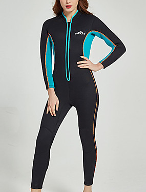 cheap Sports & Outdoors-SBART Women's Full Wetsuit 3mm SCR Neoprene Diving Suit Thermal / Warm Long Sleeve Front Zip - Diving Water Sports Solid Colored Autumn / Fall Spring Summer / Winter / Micro-elastic