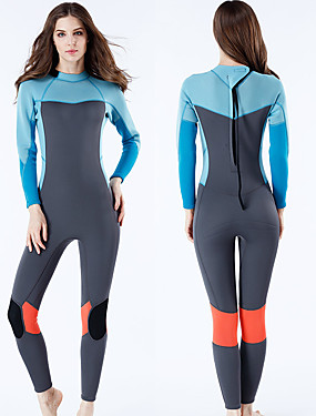 cheap Sports & Outdoors-MYLEDI Women's Full Wetsuit 3mm SCR Neoprene Diving Suit Anatomic Design High Elasticity Long Sleeve Back Zip - Swimming Water Sports Solid Colored Autumn / Fall Spring Summer / Winter / Stretchy