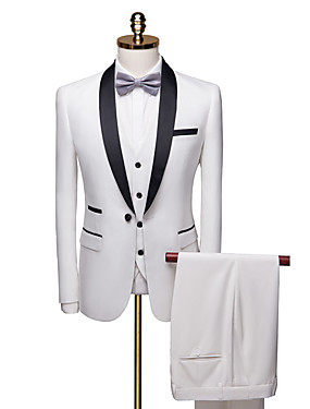 cheap Weddings & Events-Tuxedos Standard Fit Shawl Collar Single Breasted One-button Polyester Solid Colored