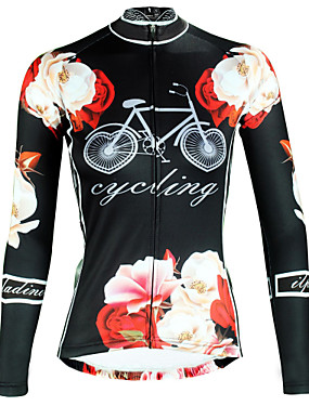 cheap Sports & Outdoors-ILPALADINO Women's Long Sleeve Cycling Jersey Winter Elastane Black Floral Botanical Bike Top Mountain Bike MTB Road Bike Cycling Breathable Quick Dry Ultraviolet Resistant Sports Clothing Apparel