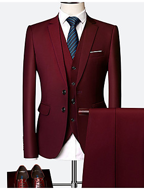 cheap Blazers & Suits-Men's Burgundy Suits, Solid Colored Polyester Wine / Light Blue / Royal Blue