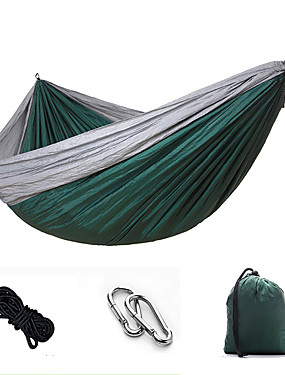 cheap Sports & Outdoors-Camping Hammock Outdoor Portable Breathable Ultra Light (UL) Parachute Nylon with Carabiners and Tree Straps for 2 person Hunting Fishing Hiking Fruit Green + Dark Green Sky Blue Red + Black 270*140
