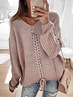 cheap Valentine's Day Gifts-Women's Casual Knitted Solid Colored Long Sleeve Pullover Sweater Jumper, V Neck Spring / Fall Blushing Pink / Red / Navy Blue S / M / L