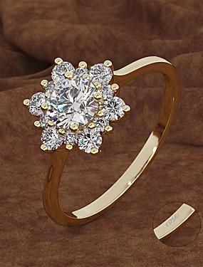 billige Fashion Rings-personlig tilpasset Klar Kubisk Zirkonium Ring Klassisk Gave Love Festival Geometrisk Form 1pcs Gull Sølv