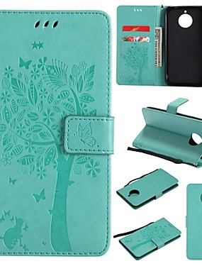 cheap Other Phone Case-Case For Motorola Moto E4 Plus Wallet / Card Holder / Flip Full Body Cases Tree / Flower Hard PU Leather