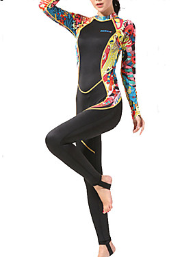 cheap Sports & Outdoors-HISEA® Women's Rash Guard Dive Skin Suit Nylon Spandex Diving Suit High Elasticity UPF50+ Long Sleeve Back Zip - Surfing Water Sports Reactive Print Autumn / Fall Spring Summer