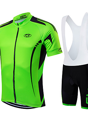 cheap Sports & Outdoors-FUALRNY® Men's Short Sleeve Cycling Jersey with Bib Shorts Mineral Green Forest Green White Bike Clothing Suit Breathable Quick Dry Moisture Wicking Sports Geometry Mountain Bike MTB Road Bike Cycling