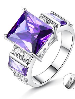 billige Fashion Rings-personlig tilpasset Lilla Kubisk Zirkonium Ring Zirkonium Klassisk Indgraveret Gave Love Festival Oval 1pcs Lilla / Laser gravering