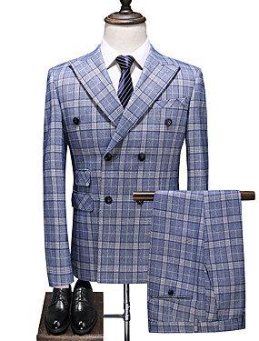 cheap The Wedding Store-Sky Blue Checkered Slim Fit Polyester Suit - Peak Double Breasted Four-buttons