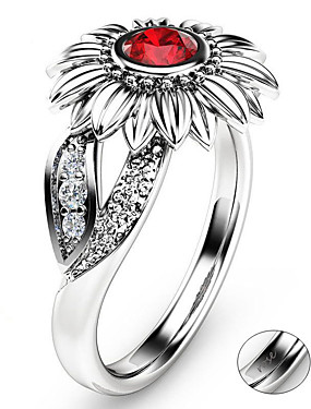 preiswerte Mode Ringe-Personalisiert Angepasst Klar Kubikzirkonia Ring Klassisch Geschenk Versprechen Festival Geometrische Form 1pcs Rote