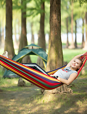 cheap Sports & Outdoors-Camping Hammock Outdoor Portable Breathable Ultra Light (UL) Canvas for 1 person Hiking Beach Camping Stripes - Red Blue 195*80 cm