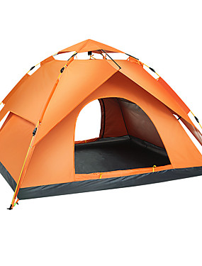 cheap Sports & Outdoors-Sheng yuan 4 person Backpacking Tent Outdoor Waterproof Mountaineering Sun Protection Double Layered Automatic Dome Camping Tent 2000-3000 mm for Camping / Hiking Camping / Hiking / Caving Oxford