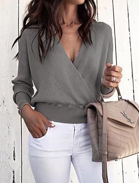 cheap UNDER $9.99-Women's Solid Colored Long Sleeve Cardigan Sweater Jumper, Deep V Black / Royal Blue / Beige S / M / L
