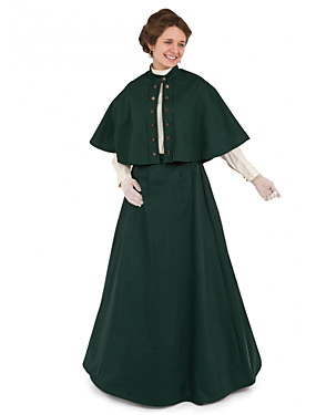cheap Toys & Hobbies-Duchess Victorian Ball Gown 1910s Edwardian Dress Party Costume Women's Costume Dark Green Vintage Cosplay Masquerade Long Sleeve Floor Length Long Length Ball Gown Plus Size / Blouse / Shawl / Shawl
