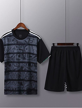 cheap Sports & Outdoors-Men's Soccer Soccer Jersey and Shorts Clothing Suit Breathable Sweat-wicking Team Sports Active Training Football Stripes Polyester Adults Black