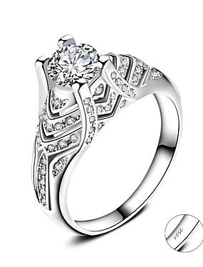 preiswerte Mode Ringe-Personalisiert Angepasst Klar Kubikzirkonia Ring Klassisch Geschenk Versprechen Festival Geometrische Form 1pcs Silber