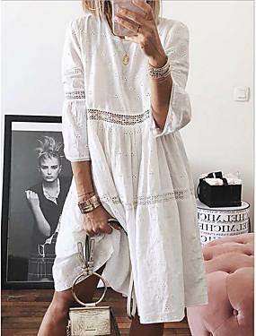cheap Clearance-Women's Plus Size A-Line Dress Short Mini Dress - 3/4 Length Sleeve Eyelet Spring Summer Casual Vacation White Purple Yellow Light Blue S M L XL XXL XXXL XXXXL XXXXXL